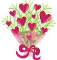Bouquet of flowers with hearts vector image vector image