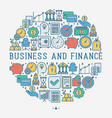 business and finance concept in circle vector image