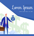 businessman character pointing on money bag banner vector image vector image