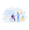 businessman greeting new colleague - disabled man vector image vector image