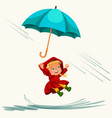 children walking under raining sky with an vector image vector image