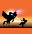 cowboy catches pegasus vector image vector image