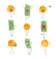 cute funny humanized banknotes and coins showing vector image vector image