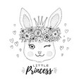 cute kawaii bunny rabbit face in princess crown vector image
