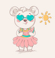 cute little bear in colorful skirt and sunglasses vector image