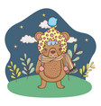 cute little bear with hat in the camp vector image