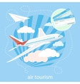 Detailed airplane flying through clouds in the vector image vector image