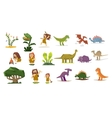 Dinosaurs and Prehistoric Plants People Flat vector image