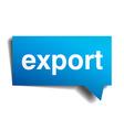 export blue 3d realistic paper speech bubble vector image vector image