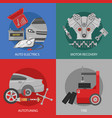 flat professional car repair square composition vector image