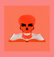 flat shading style icon book skull vector image vector image