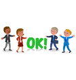 four businessmen in ok gesture vector image