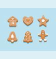 gingerbread cookies a set different cookies vector image vector image