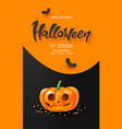 halloween background with glowing pumpkin and bats vector image