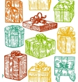 hand drawn colorful gift background vector image vector image