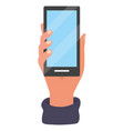 hand holding smartphone tech vector image vector image