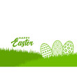 happy easter green grass and pattern eggs vector image