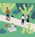 happy young people spend time at city park in vector image