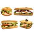 healthy fresh ingredient sandwiches set vector image vector image