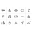 kids hand drawn sketch icon set vector image vector image