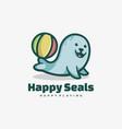 logo happy seal simple mascot style vector image