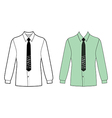 Long sleeve mans shirt tie outlined template fron vector image vector image