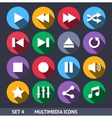 Multimedia Icons With Long Shadow Set 4 vector image vector image