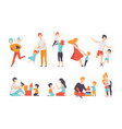 parents and their kids having good time together vector image vector image