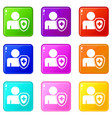 person and medical cross protection shield set 9 vector image vector image