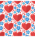 red heart flowers seamless pattern vector image vector image