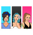 retro girls banners vector image