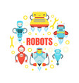 robots banner template with cute friendly android vector image vector image