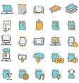 School Online E-Learning E-Book Book Line Icons vector image vector image