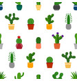seamless background with cactuses in pots vector image vector image