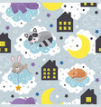 seamless pattern with sleeping animals vector image vector image