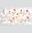 set fun doodle sketch snowmen on white glowing vector image