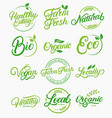 set organic local fresh natural logos vector image vector image