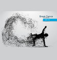 silhouette of a break dancer from particles vector image vector image