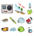 ski resort and equipment cartoon icons in set vector image