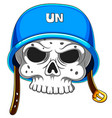 skull in blue helmet on white background vector image