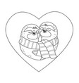 sloths in love with scarf hug each other inside vector image vector image
