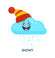 snowy weather symbol with happy cloud in knitted vector image vector image