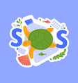 sos and help sea animals from plastic vector image vector image