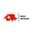 swiss made icon switzerland flag map quality seal vector image vector image