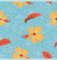 tropical floral and leaves seamless pattern vector image vector image