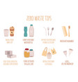 zero waste tips for eco life with text in a flat vector image vector image