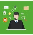 Call center or support with man flat style vector image