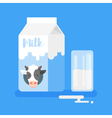 flat style of milk packing and a glass of milk vector image