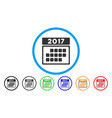 2017 calendar month table rounded icon vector image vector image