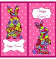 Backgrounds set with easter rabbit vector image vector image